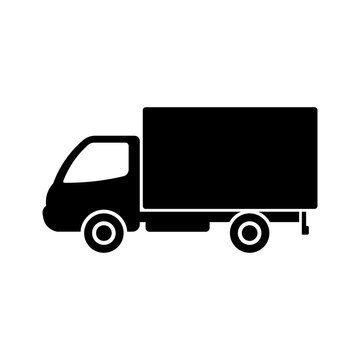 Delivery truck icon. Side view. Black silhouette. Vector flat graphic illustration. The isolated object on a white background. Isolate.