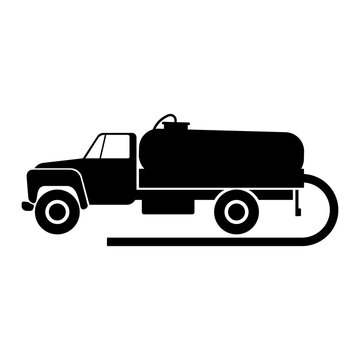 Vacuum cleaner truck icon. Black silhouette. Side view. Vector flat graphic illustration. The isolated object on a white background. Isolate.