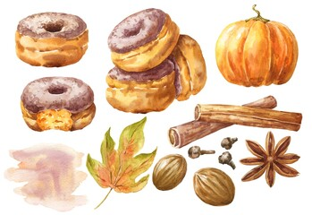 Watercolor pumpkin spice donuts set, fall season watercolour food illustration.