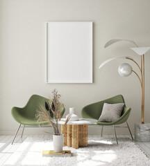 Wall Murals Equestrian mock up poster frame in modern interior background, living room, Scandinavian style, 3D render, 3D illustration