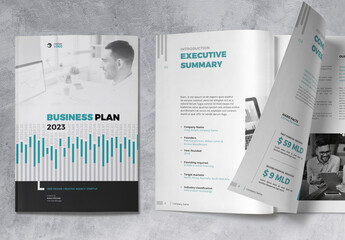 Business Plan Brochure Layout with Blue and Grey Accents