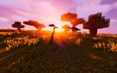 Photo sur Plexiglas Lilas Paysage de savane Minecraft