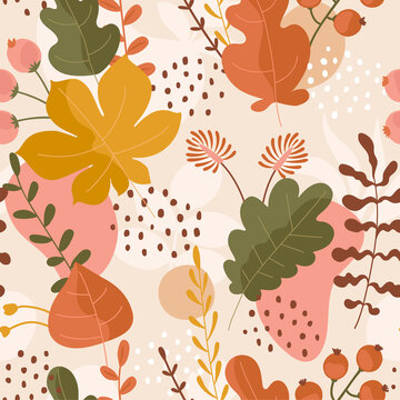 Seamless pattern with autumn leaves ornament