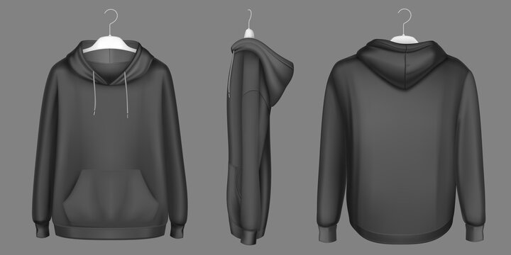 Hoody, black sweatshirt on hanger mock up front, side and back view. Isolated hoodie with long sleeves, kangaroo muff pocket and drawstrings. Sports, casual urban clothing, Realistic 3d vector mockup