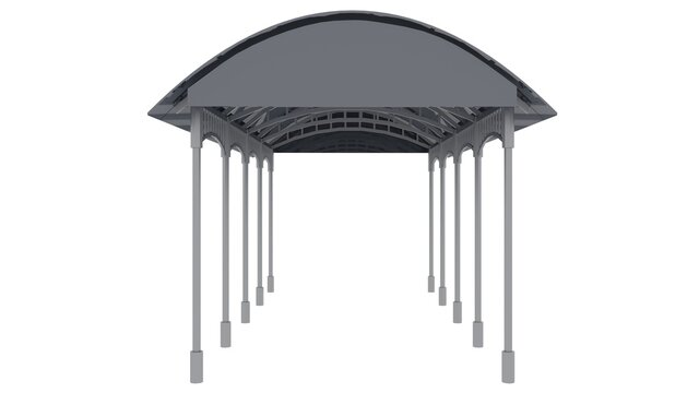 3D illustration of Metal canopy isolated on white