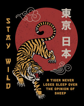 Tiger with Stay Wild Slogan and Japan Tokyo Words in Japanese