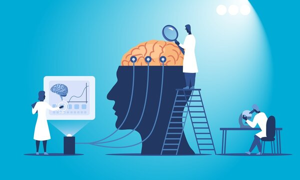 Abstract colorful vector illustration of scientists researching human brain in their lab. Flat vector illustration