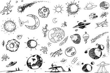 many hand drawn sketches of topics regarding planets and space flight with rockets and space stations and stars and ufos