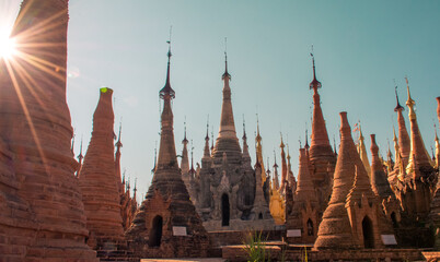 Ancient place with hundreds of stupas