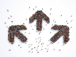 Crowd of people forming three arrows that go in three different directions. 3D Rendering