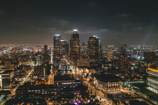 Aerial View of Downtown Los Angeles Skyline with City Lights from Aerial Perspective