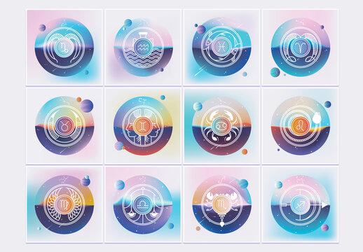 Insieme logo dello zodiaco gradiente