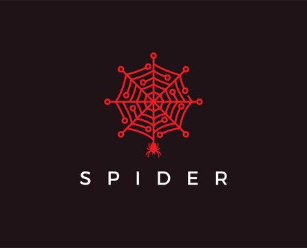 minimal spider tech logo template - vector illustration