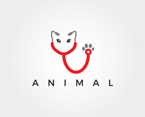 minimal veterinary logo template - vector illustration