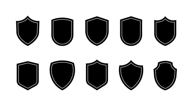 Shield badges set. Emblems template for prottection, sport club, military and security coat of arms. Vector illustration