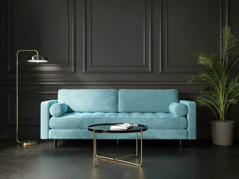 3d render of a dark grey living room with a turqoise sofa and an art canvas
