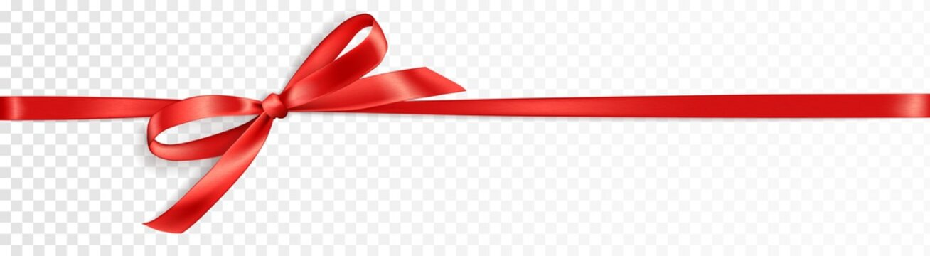 Realistic gift bow. Red ribbon isolated. Vector holiday decoration. Great for christmas and birthday cards, valentine or shopping sale banners. Easy to change colors.