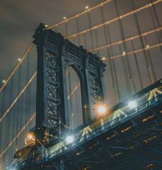 city bridge at night manhattan New York