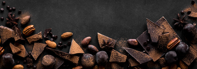 Dark Chocolate and Nuts Background