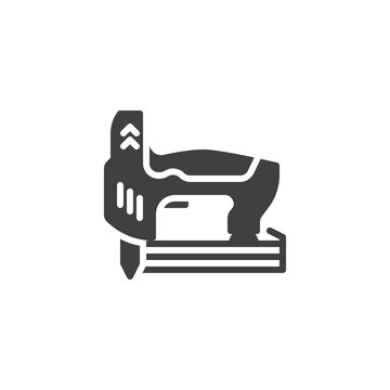 Carpentry woodworking tool vector icon. filled flat sign for mobile concept and web design. Cordless nail gun glyph icon. Symbol, logo illustration. Vector graphics
