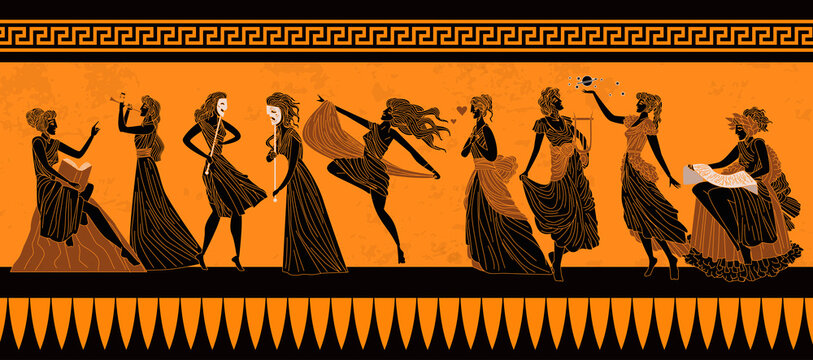 greek mythology muses Clio, Euterpe, Thalia, Melpomene, Terpsichore, Erato, Polymnia, Ourania and Calliope,