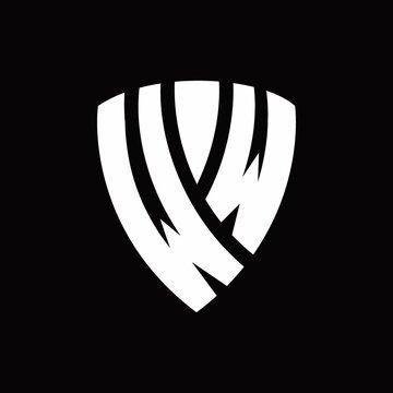 WW Logo monogram with shield elements shape design template