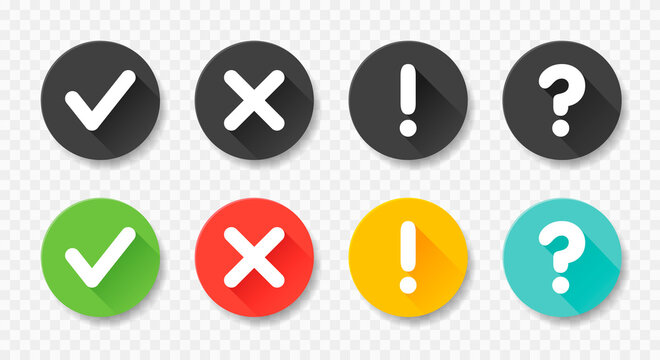 Collection round buttons with sign done, error, question mark, exclamation point. Vector flat illustrations.