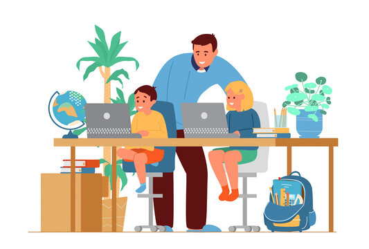 Homeschooling Concept. Father Or Tutor Teaching Kids At Home. Girl And Boy Sitting At Desk At Laptops. Flat Vector Illustration.