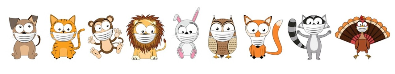 Caroon animals wearing face masks - vector illustration