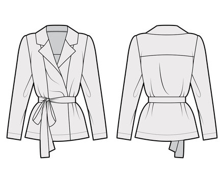 Belted double-breasted wrap shirt technical fashion illustration with relaxed fit pointed notch collar, long sleeves. Flat apparel template front back grey color. Women men unisex blazer CAD mockup