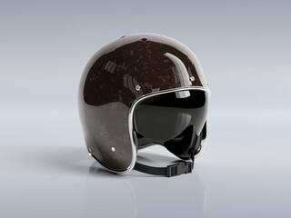 Brown vintage motorbike helmet isolated on white background Mockup 3D rendering