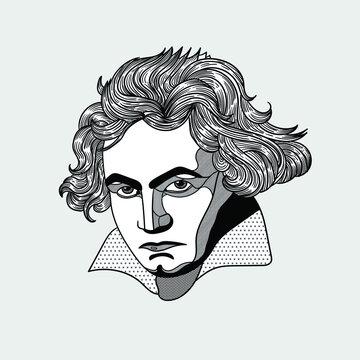Ludwig van Beethoven. Vector illustration hand drawn.
