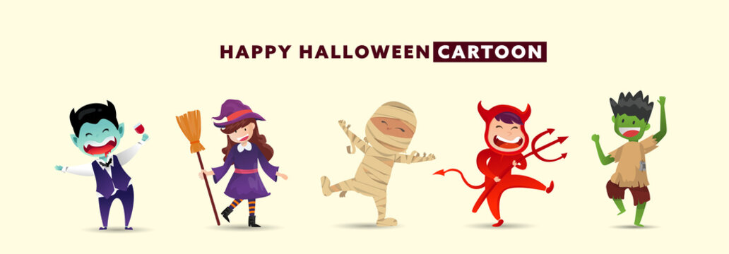 Happy Halloween Day with collection of cute monster character design.