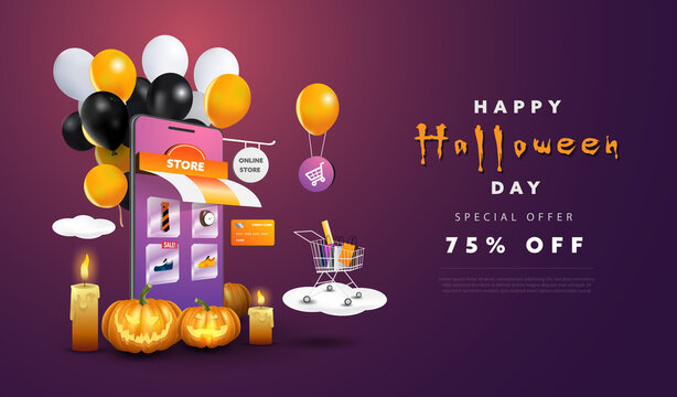 Happy Halloween Day background with online store shopping and cute elements. Promotion banner design vector.