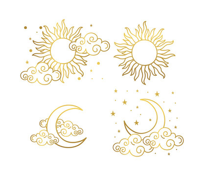 Mystical golden boho tattoos with sun, crescent, stars and clouds. Linear design, hand-drawing. Set of elements for astrology, mysticism and fortune telling. Vector illustration on a white background.