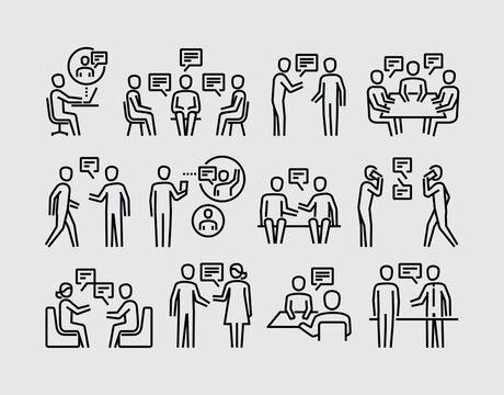 People Talking. Two People Talk Face To Face Vector Line Icons Set