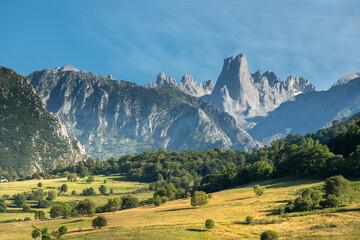 Naranjo de Bulnes, known as Picu Urriellu, from Pozo de la Oracion lookout point in Picos de Europa National Park, Asturias in Spain