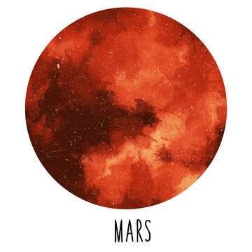 Planet Mars. Hand drawn watercolor solar system collection