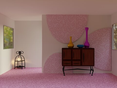 Living room with pink wall decoration and carpet