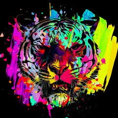 abstract colored tiger face, graphic design concept