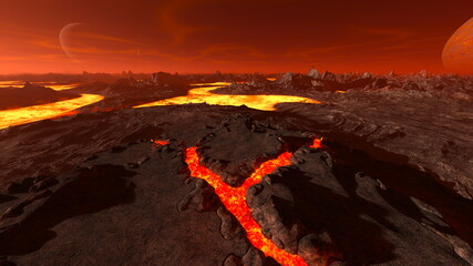 Foto auf Leinwand Braun マグマ火山