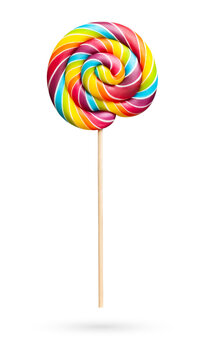 Rainbow colored lollipop on white background