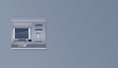 ATM on empty wall. Automated teller machine realistic vector illustration.