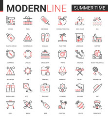 Summer time vacation thin red black line icon vector illustration set. Website outline summertime pictogram app symbols collection with travel or beach holiday items and sport activity editable stroke