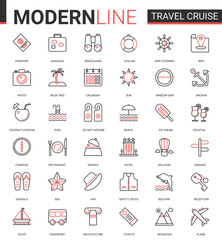Travel cruise thin red black line icon vector illustration set. Outline tourism mobile app symbols of traveling transport, hotel service for tourists, sea summer beach party items editable stroke
