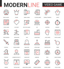 Video game thin red black line icon vector illustration set with outline entertainment mobile app symbols collection with devices and gadgets for gamers, vr glasses for gaming in augmented reality