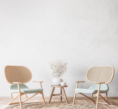 Scandinavian living room mockup, wooden chair on empty white background, minimal design, 3d render