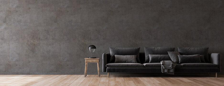 Dark living room interior in modern style. Panorama, 3d render