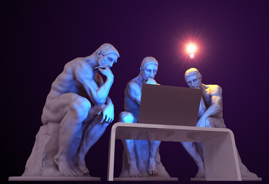 Three thinkers with a computer and one of them has a glowing light bulb above his head as a symbol of a new idea