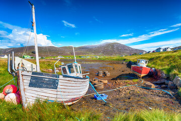Wall Mural - Old fishing boats at Leverburgh on the Isle of Harris